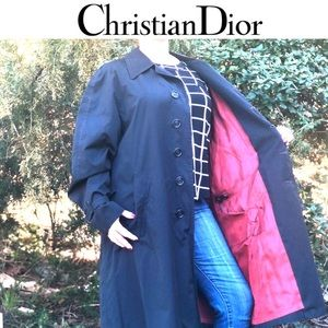 Christian Dior black button trench coat size 42